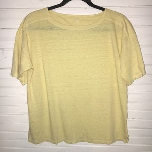 EILEEN FISHER SIZE XS LOOSE FIT PALE YELLOW TOP